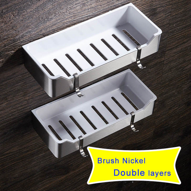 Black Bathroom Shelves Brushed Nickel Stainless Steel + ABS Plastic Rectangle Wall Mount Shower Caddy Rack Bath Accessories
