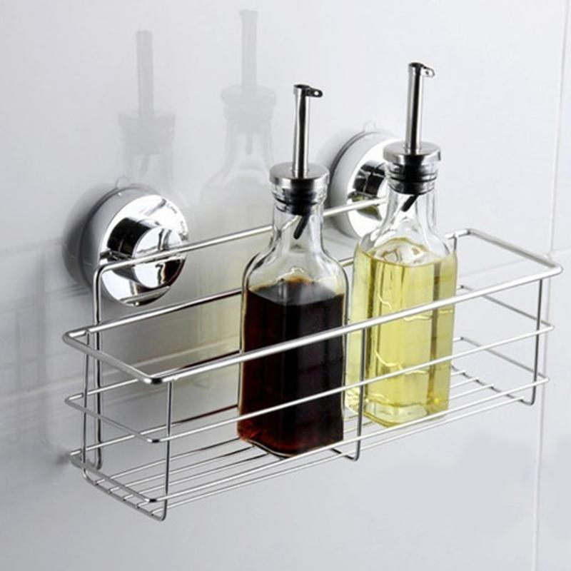 Stainless Steel Bathroom Shelves Vacuum Suction Cup Kitchen Bathroom Shelf  Storage Toilet Wall Bracket Bathroom Accessories