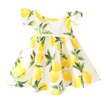 ZIKA brand Kids Dress Summer Fly Sleeve  Sundress Lemon Pattern Baby Girls Dresses Fashion Children Clothes Christmas Gifts
