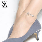 SA SILVERAGE Real 925 Sterling Silver Anklets for Women Fine Jewelry Star Charms Adjustable