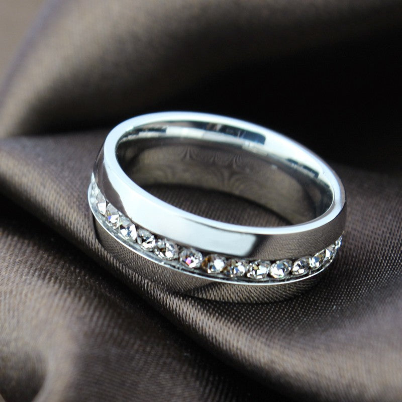 Unisex Stainless Steel Crystal Ring