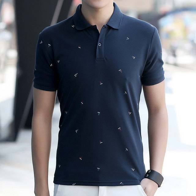 Men's Polo Shirt Style Summer Fashion Printed Lapel POLO Men Cotton Short Sleeve Camisas Slim Fit Casual Male Polo Shirt Brand