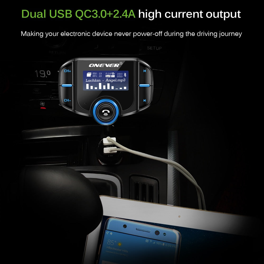 Bluetooth 2-Port USB Quick Charge FM Handsfree Transmitter