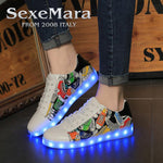 Foreign Trade Usb  Led Colorful Dance Shoes Hip-hop shoes High help Fluorescent Sneakers women men masculino adulto Eur35-44