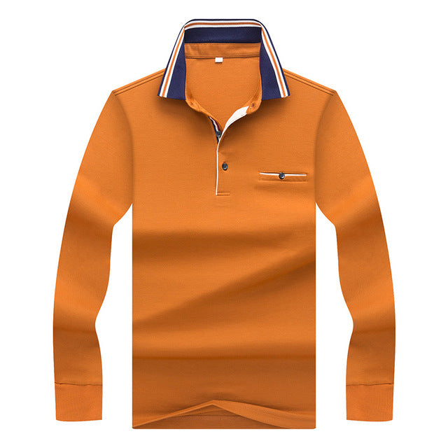 Men's Polo Solid Color Long-Sleeve Shirt