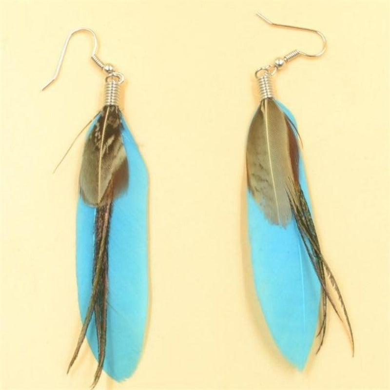 Fashion Vintage Feather Long Drop Earrings For Women Beautiful Earrings Birthday Gift