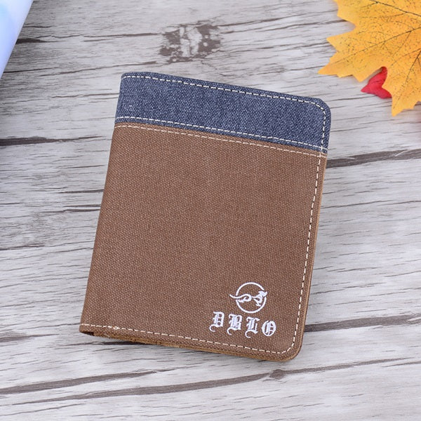 Super Thin Vintage Short Men Wallets Transverse Multi Card Vertical Coin Purse Canvas Wallet For Men Students Teenager