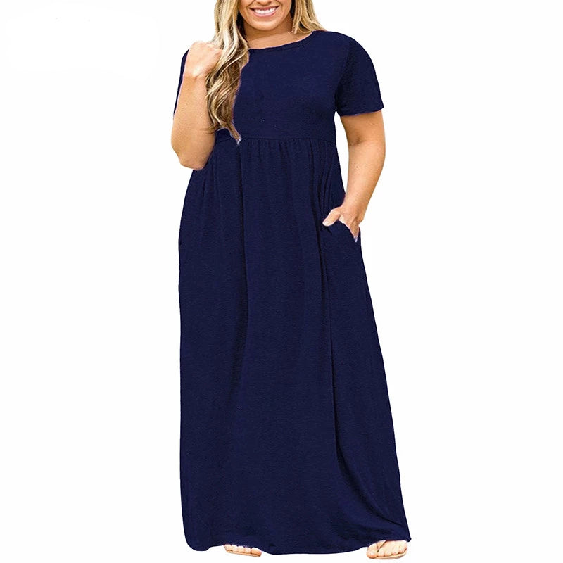 Women O-neck Short Sleeve Long Casual Dress Plus Size 7XL 8XL With Pockets Solid Vintage Maxi Dress