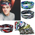 Men Print Sport Sweatband Headband Yoga Gym Stretch Head Band Hairband