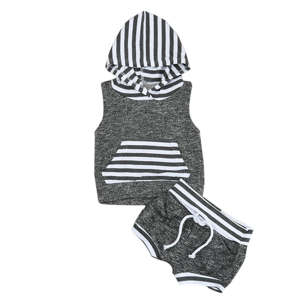 Babies kids Striped Casual Hooded Clothing Set Summer Infant Baby Boy Kid Outfits Clothes Hoodie Vest Tops+Pants 2pcs Set