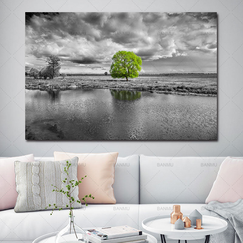 Canvas Landscape Grey Scale with Color Pop Wall Decor