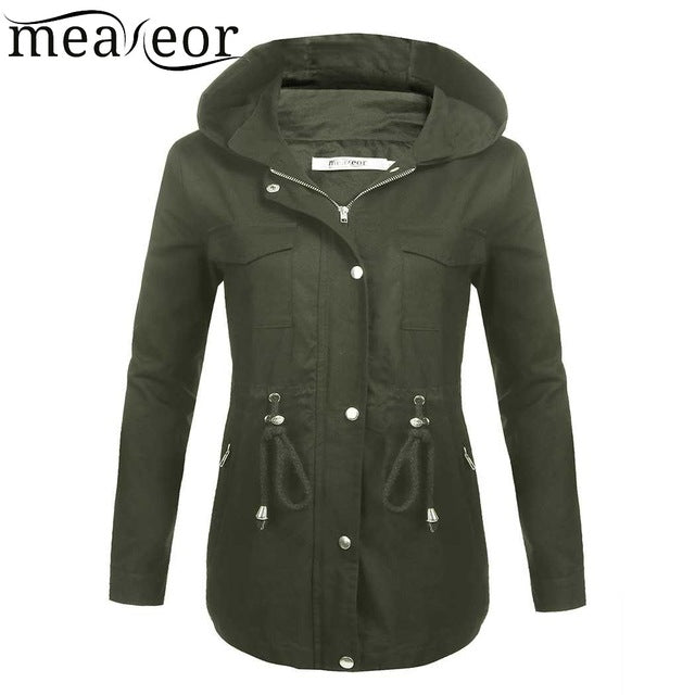 Meaneor Women Hooded Thick Warm Coat 100% Cotton Long Sleeve Solid Zip-up Lightweight Zipper Drawstring Jacket Coats Outwear Top