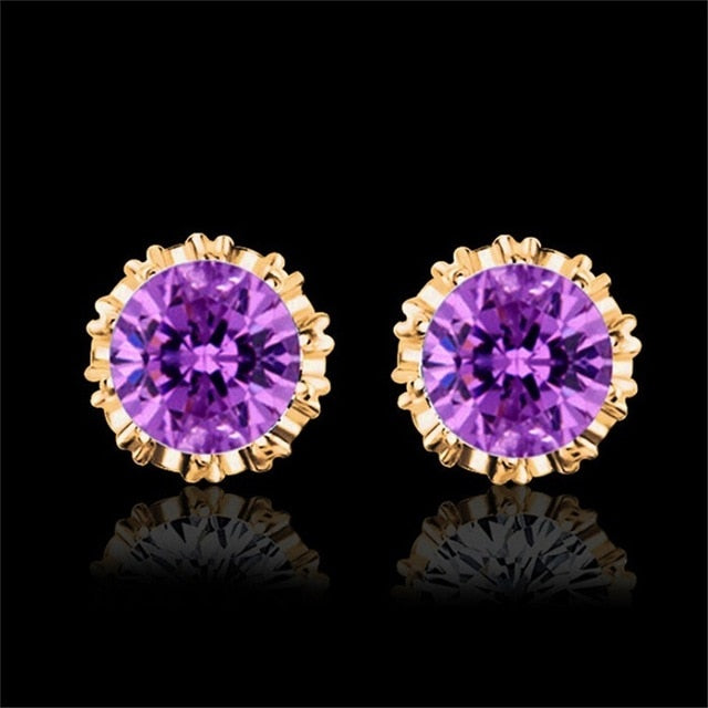 Women's 925 Sterling Silver Cubic Zirconia Stud Earrings