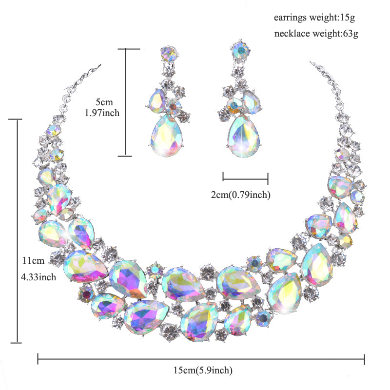 Delicate Crystal AB color fashion Jewelry set for bridal wedding necklaces and earring Women party Jewellery costume accessories