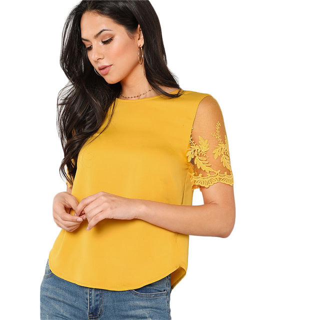 SHEIN Ginger Flower Mesh Sleeve Blouse Women Round Neck Short Sleeve Curved Hem Casual Top Summer Elegant Blouse