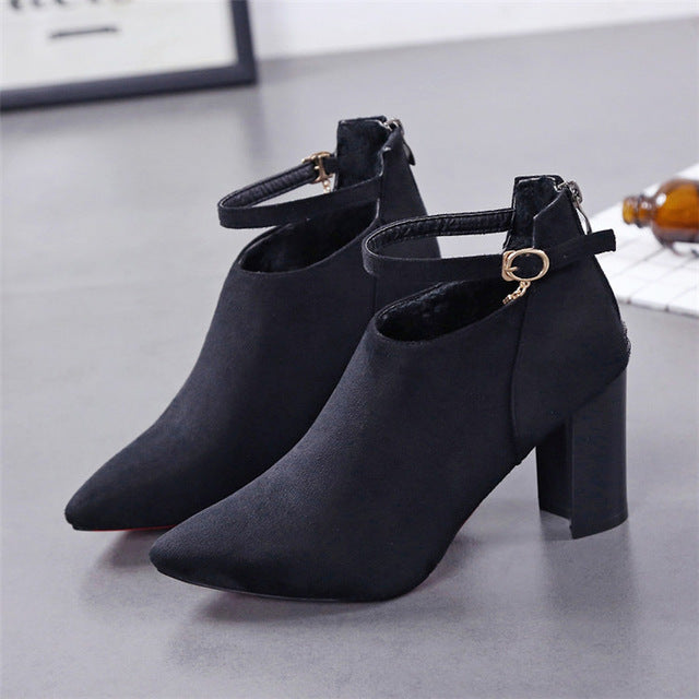 Women Winter Boots Female Flock Pointed Toe High Heel Ankle Autumn Boots Ladies Bottes