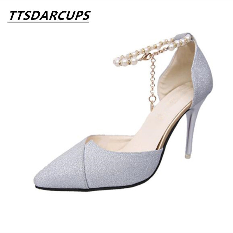 TTSDARCUPS New high heels in spring and Autumn Ankle String Bead women's shoes Thin Heels Buckle Strap Big code 40 Fashion pump