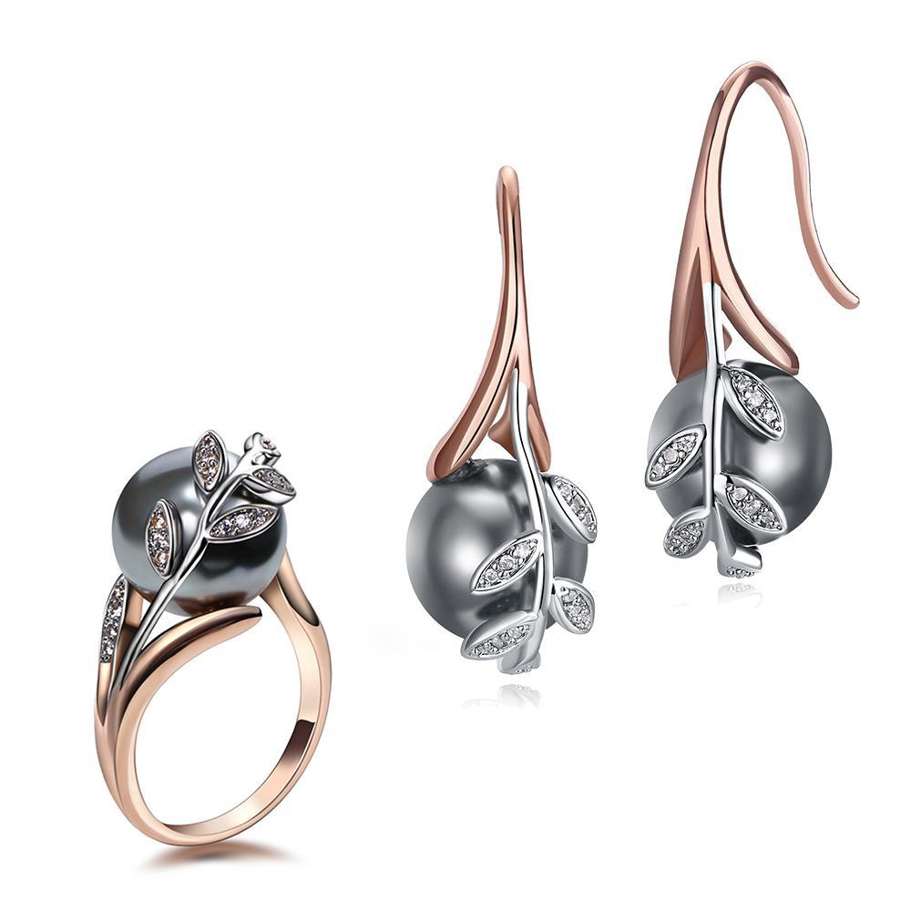 Earrings ring sets Rose gold plate pave grey pearl & cubic zircon jewelry set for women