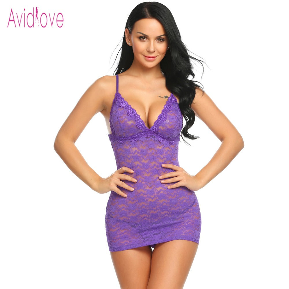 Avidlove Floral Lace Sexy Lingerie Erotic Babydoll Dress Women Mini Nighty Underwear Set Exotic Clothing