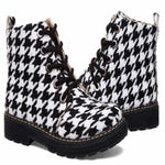 Women Shoes Lace-up Ankle Boots Winter Ladies Fashion Lattice Round Head Martin Boots