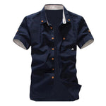 NEW Fashion mens shirt summer short-sleeve slim shirt casual Small Mushroom Embroidery men's shirt Navy