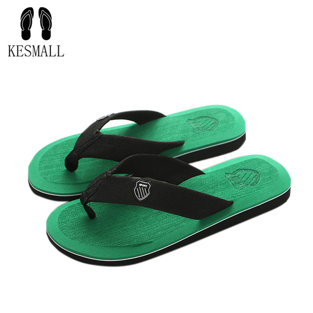 KESMALL  Summer Men Flip Flops High Quality Beach Sandals Non-slide Male Slippers Zapatos Hombre Casual Shoes A10