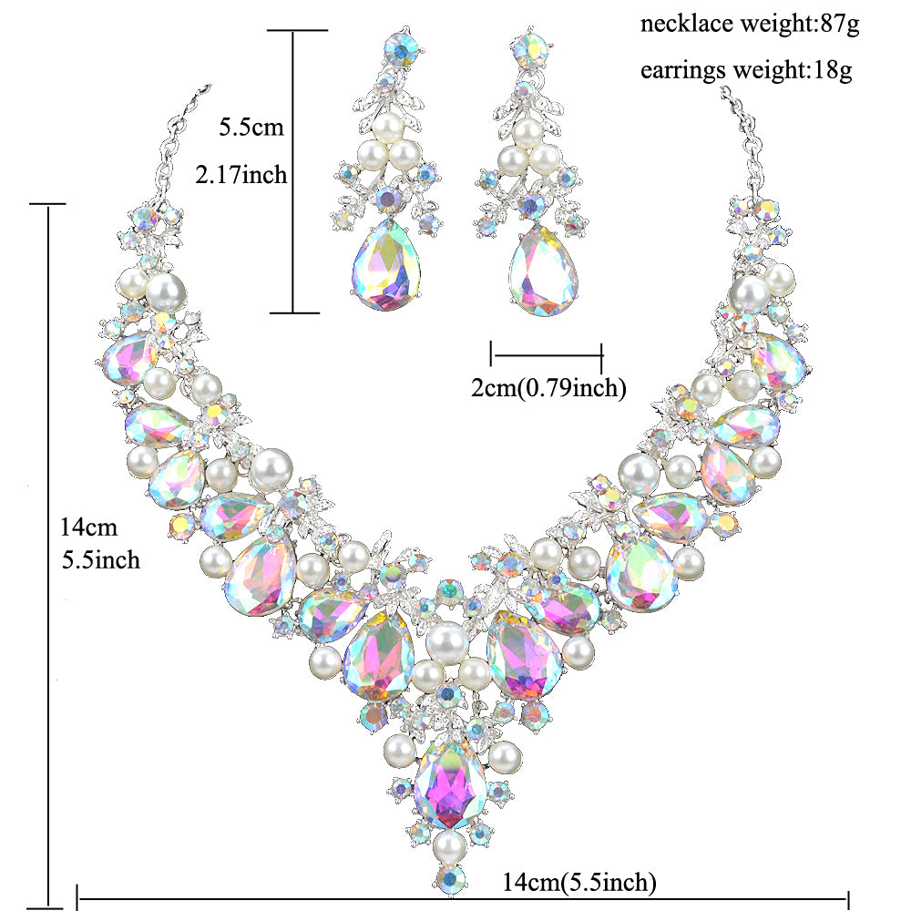 Delicate Shining AB crystal and pearl Jewelry sets For women wedding Dress necklace earrings Bridal party jewellery accessories