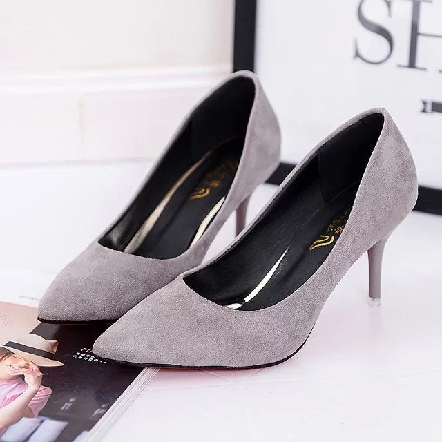 Plus Size 34-42 Women Pointed Toe Pumps Leather Shoes High Heels Shoes Wedding Elegant Office Dress Zapatos Mujer