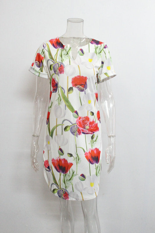Spring Summer Printed Women Dress O-Neck Hem Side Split Ladies Dresses Tie Sashes Short Sleeve Casual   Female Vestidos
