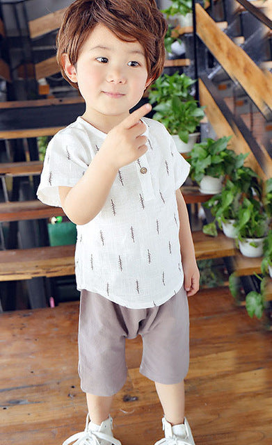 MILANCEL Summer Kids Boys Clothes Set Casual Children's Set Soft Linen Baby Boy Spring Set Leaf Tops & Harem Pants Kids Set