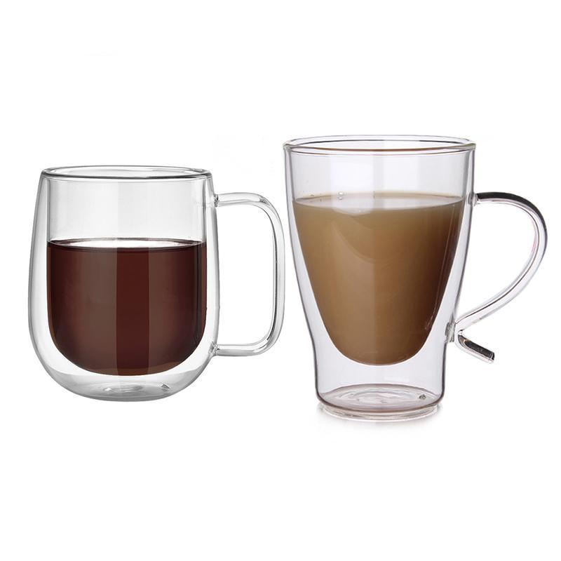 Double Wall Thermal Glass Coffee Mug
