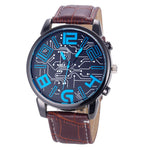 Watches Men Top Brand Luxury Retro Design PU Leather Band Analog Alloy business clock Quartz Wrist Watch relogio masculino