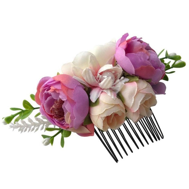 Women's Fashion Big Artificial Flower Pearl Hair Clips