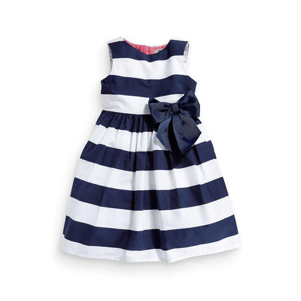 Baby Kid Girls Sleeveless One Piece Dress Blue Striped Bowknot Tutu Dresses Summer