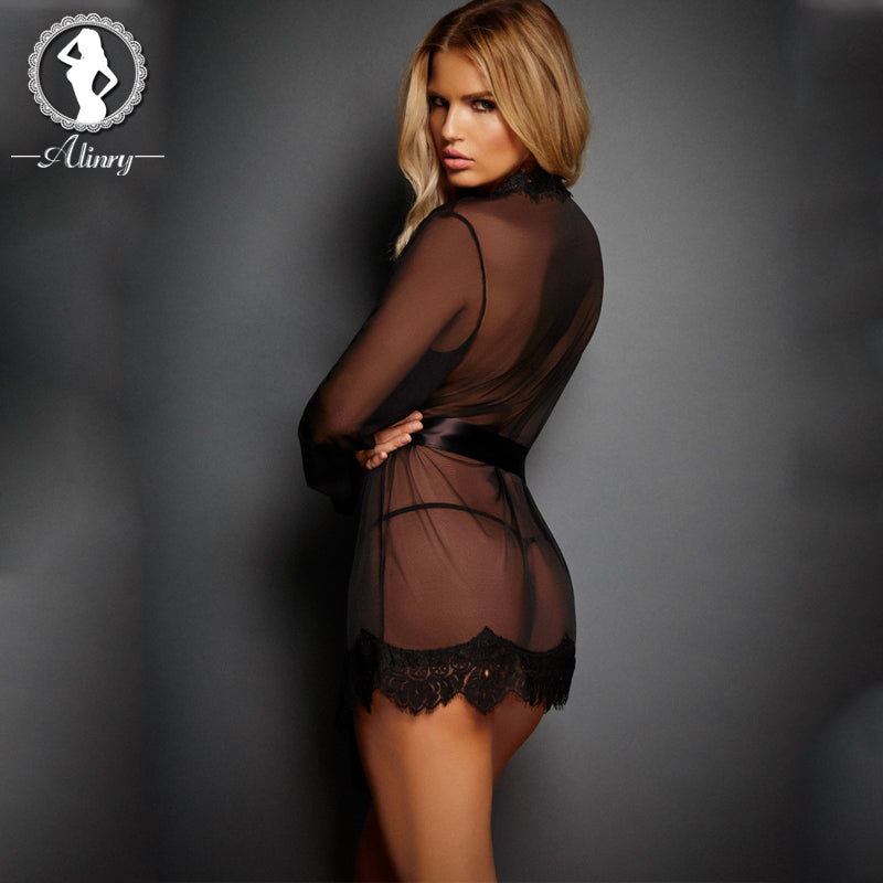 Sexy lingerie women 3 colors perspective lace robe sexy chemise+thongs underwear erotic lingerie sexy costumes