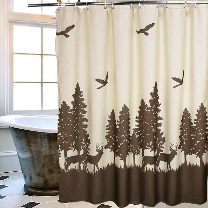 Natural Waterproof Deer In The Forest Shower Curtain