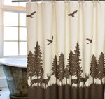 Natural Waterproof Deer in the Forest Shower Curtain - Beige Coffee Mildewproof Polyester Fabric Kids Bathroom Curtain Designs