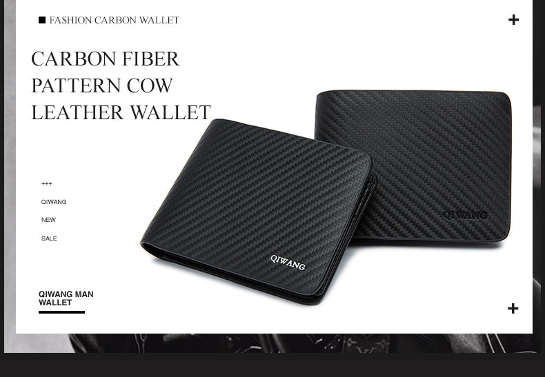 Qi Wang Wallet for Men Carbon Wallet Genuine Leather small wallet Men Leather Thin Wallet Male Slim  Man Card purse Money Bags