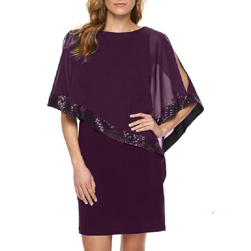 New Women's Vestidos Batwing Sleeve Summer Dress Fashion Elegant Office   Party Sequins S ching Slim Dresses Plus Size 3XL