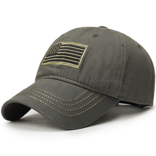 Men's Military US Flag Embroidered Adjustable Baseball Cap