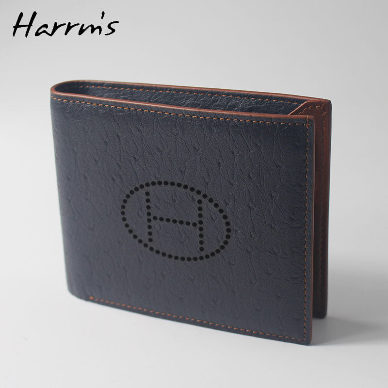 New Sesign Harrms Brand Short  Ostrich skin genuine leather men wallets blue color high quality purse