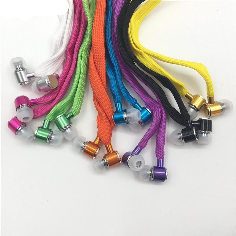 Metal Super Bass Handsfree Shoelace Headphones with Mic