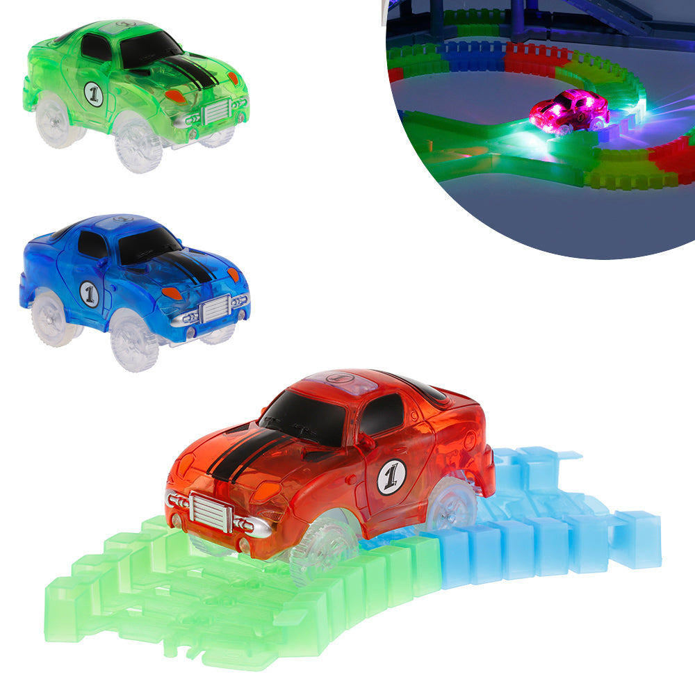 Electronic LED Car Toy Flashing Lights Car Boys Gift Mini Race Track Car Kids Glow Racing for Flexible Track 2017 Brinquedos
