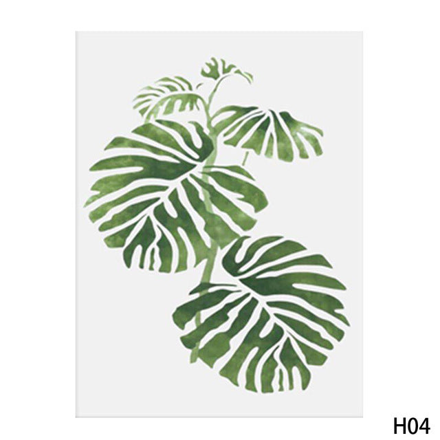 Watercolor Tropical Plant Leaves Canvas Poster Painting