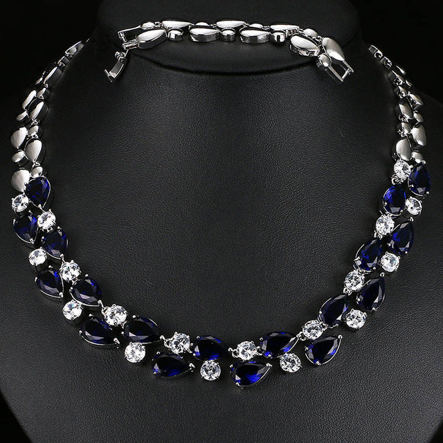 Mona Lisa Blue Stone Necklaces & Pendants Multicolor AAA+ Cubic Zirconia Statement Necklace For Women Wedding Party AN028