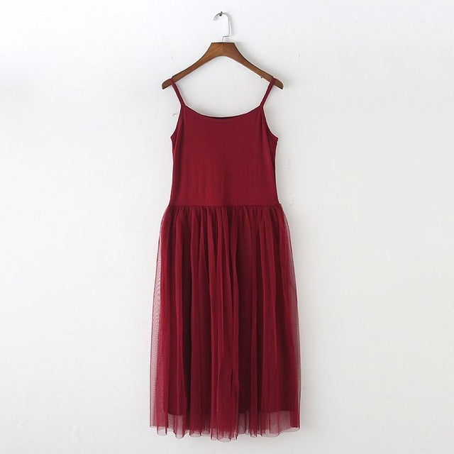 New   Lace Vest Dress Women Sleeveless O-neck Loose Spaghetti Strap Spring Summer Dress Cotton Elegant Party Dresses BL1490