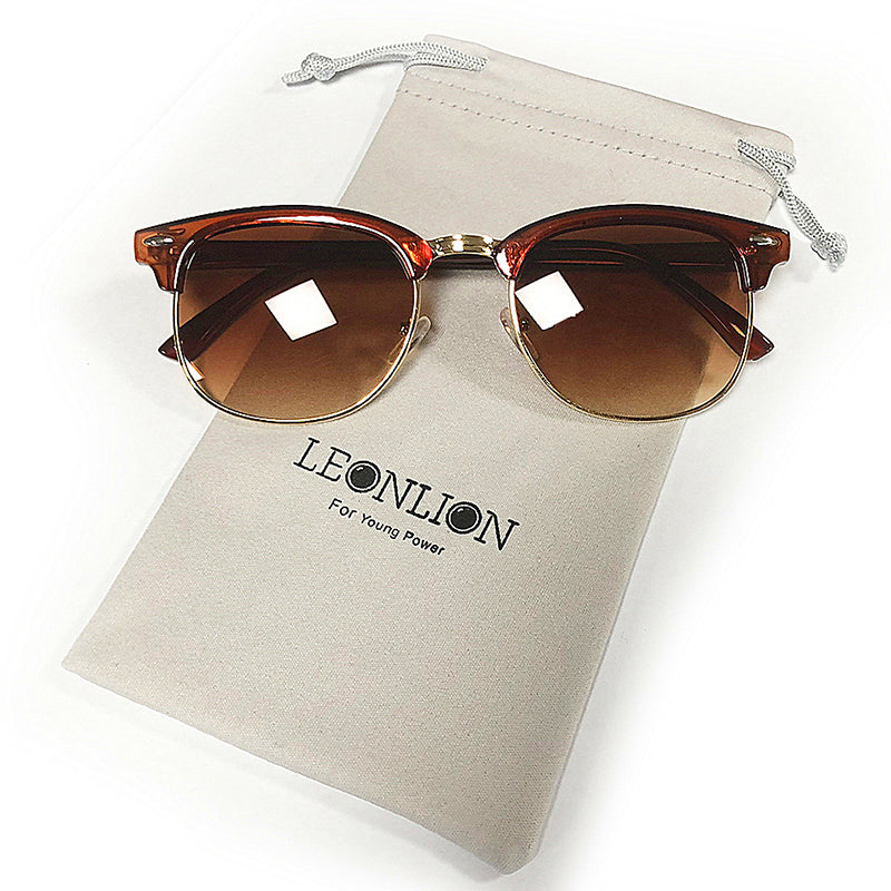LeonLion 100% Polarized Vintage Semi-Rimless Brand Designer Sunglasses Women/Men Classic Oculos De Sol Gafas Retro Sun Glasses