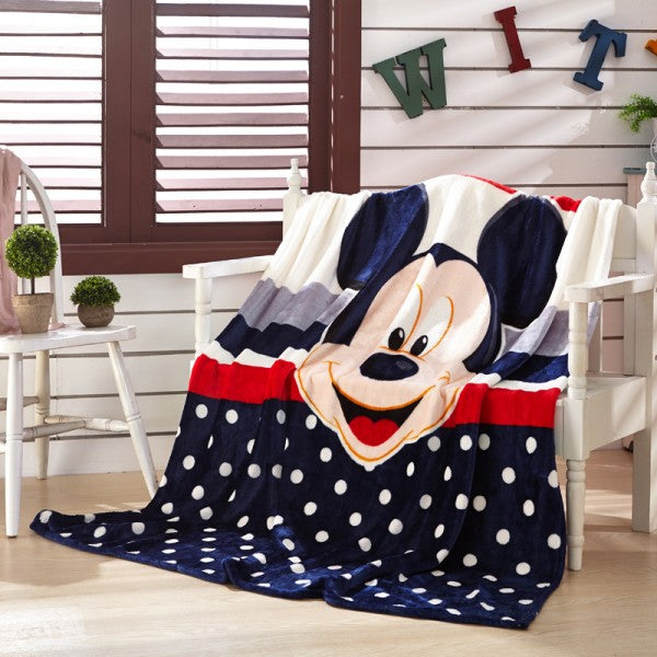 Pink Minnie Mickey Mouse Soft Flannel Throw Blanket