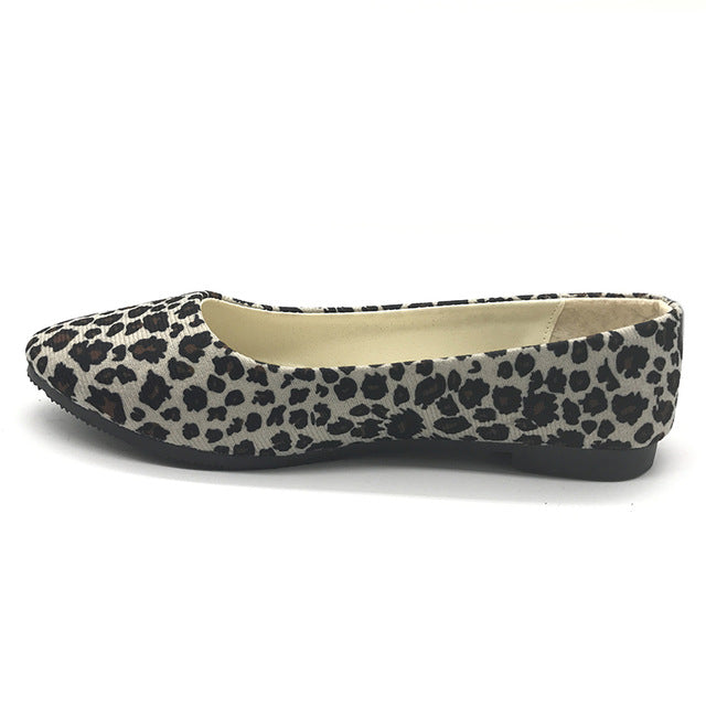 Women Ballet Flats Spring Pointed Toe Leopard Print Flat Shoes Woman Slip On Comfort Superstar Daily Wear Plus Size 35~41 WFS38