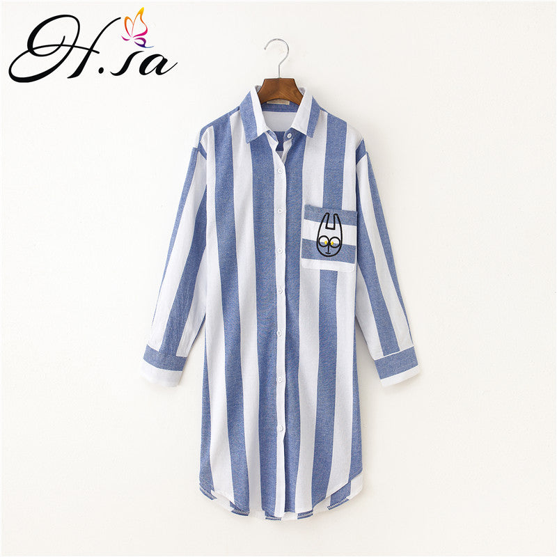 H.SA Blusas Feminina Long Sleeve Blue Strip Blouse Women Cartton Embroidery Blusas Mujer Loose Oversized Long Shirt Tops